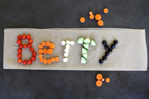 After-school snack idea: write your name with food! Easy and fun. (Raid your pantry! Use up leftovers!)