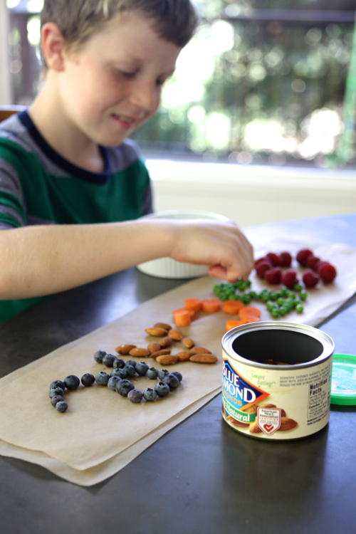 Play with your food! Write your name using different ingredients. EASY & FUN after-school snack.
