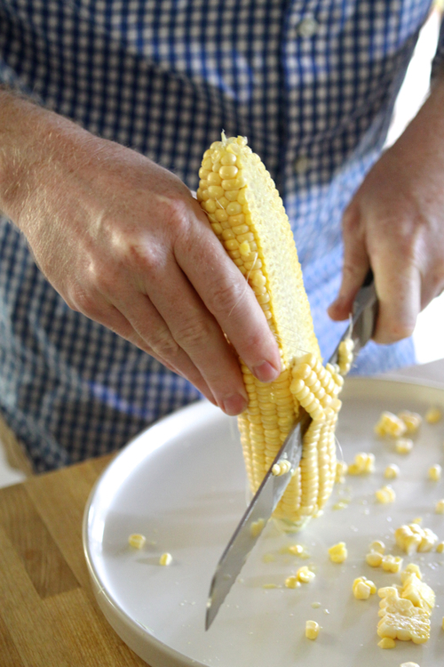 Prepping corn for a Crispy Catfish & Freekeh recipe. So good! And healthy too.