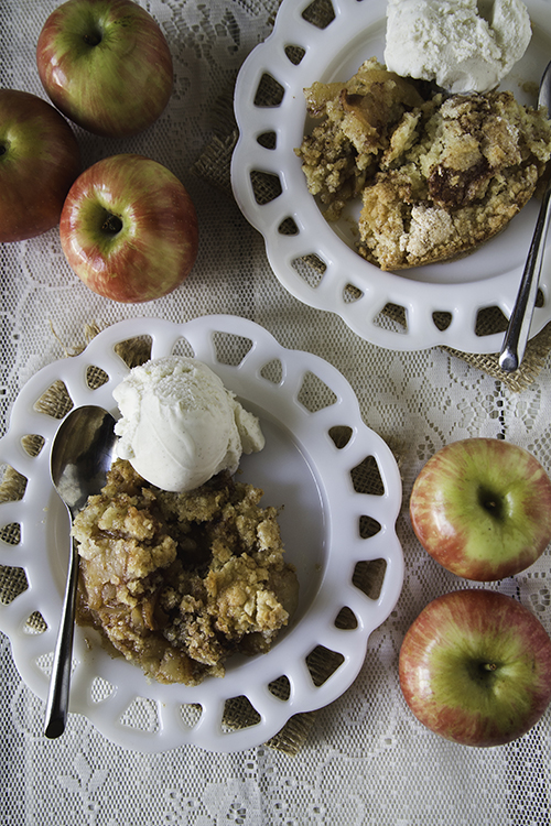 Make an easy & delicious Apple Cobbler. Sweet cinnamon-sugar apples topped with a tastes-like-sugar-cookies pie crust! | Design Mom