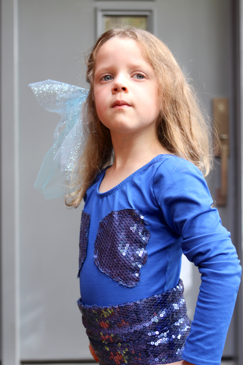 "Homemade Mermaid Costume DIY for a Little Girl. Perfect for Halloween. Add sequin ""seashells"" to a leotard."