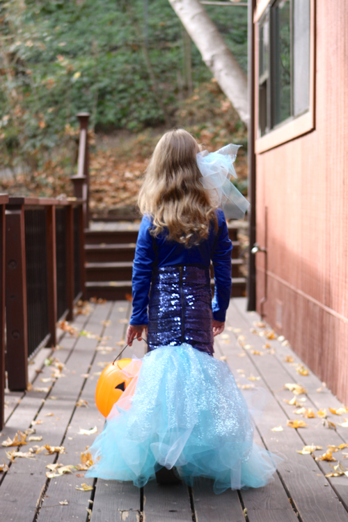 Homemade Mermaid Costume DIY for a Little Girl. Perfect for Halloween.