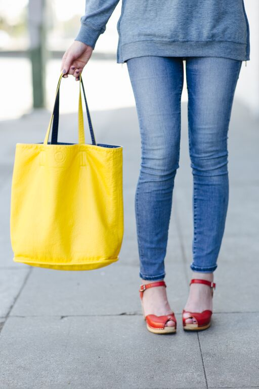 yellow tote, red sandals