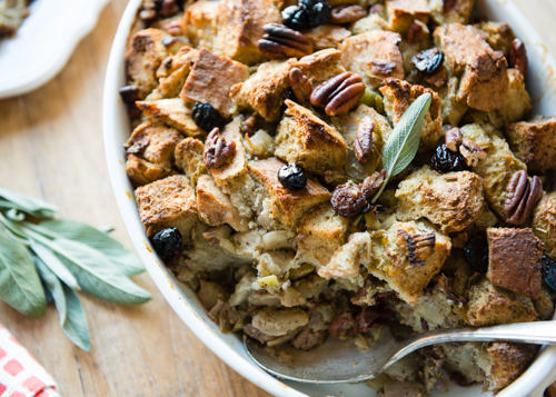 Thanksgiving stuffing with dried cherries. Delicious! | Design Mom