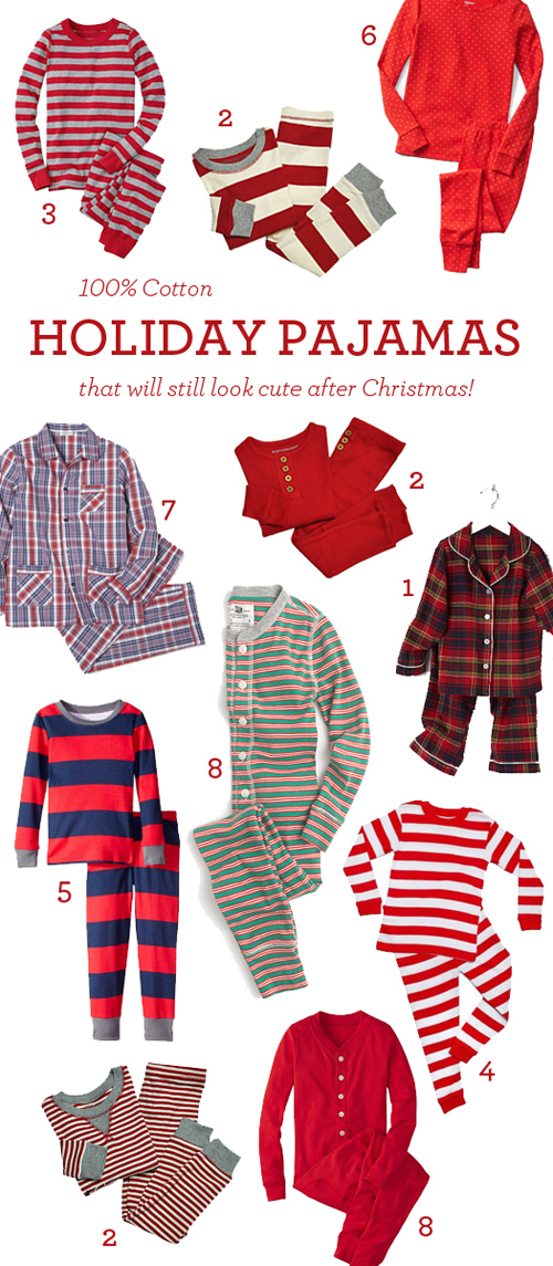 100% Cotton Holiday Pajamas — in prints and stripes and plaids that will still look good after Christmas!