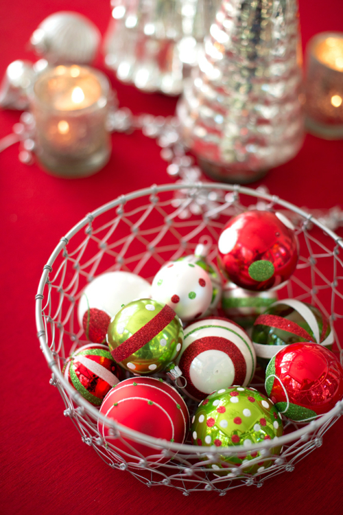 ornaments in a bowl or basket is the easiest holiday decor