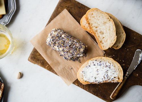lavender lemon goat cheese with bread-2