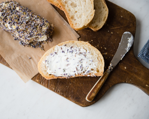lavender lemon goat cheese with bread