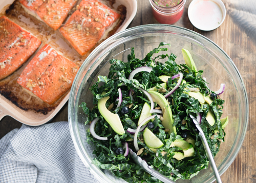 baked salmon with healthy kale salad