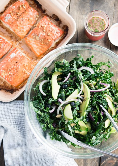 baked salmon with kale salad