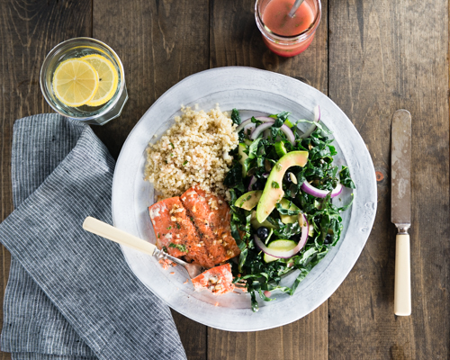 healthy baked salmon dinner and salad