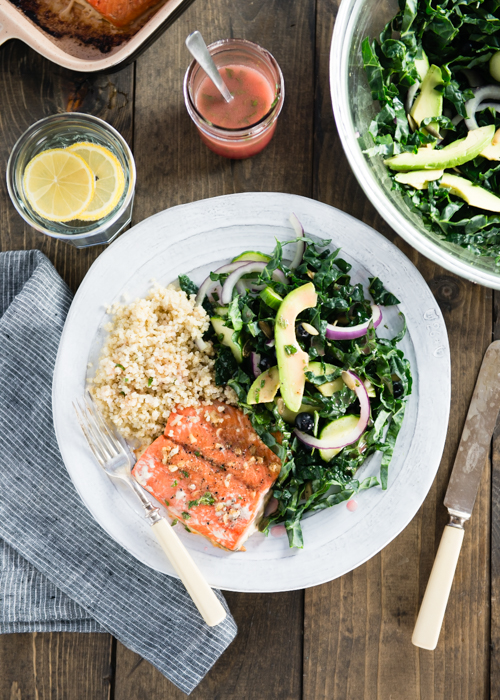 healthy baked salmon with kale salad
