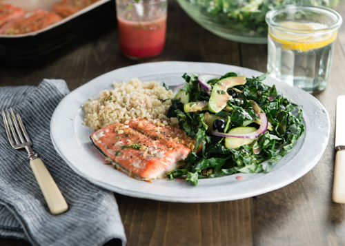light and fresh salmon with kale salad and quinoa