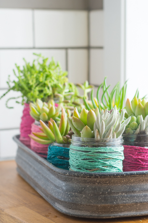 Recycle old jars into succulent planting pots with color block twine wrapped jars 11 wrapped mason jars 12 workwithnaturefo