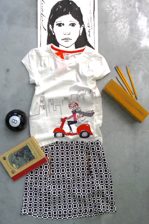 4th grader outfit styled with Schoola — an online thrift shop where proceeds fund school art and music programs.