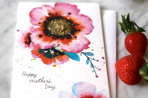 Beautiful Mother's Day Card from Hallmark. Love the watercolor and glitter combo.