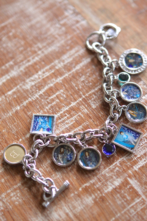 Personalized Photo Charm Bracelet, with birth stones and a Monogram Charm.