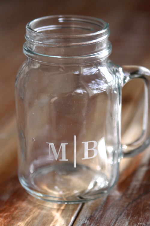 Monogrammed Mason Jars - you choose the font