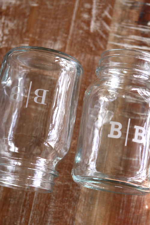 Custom Monogrammed Mason Jars - you choose the font