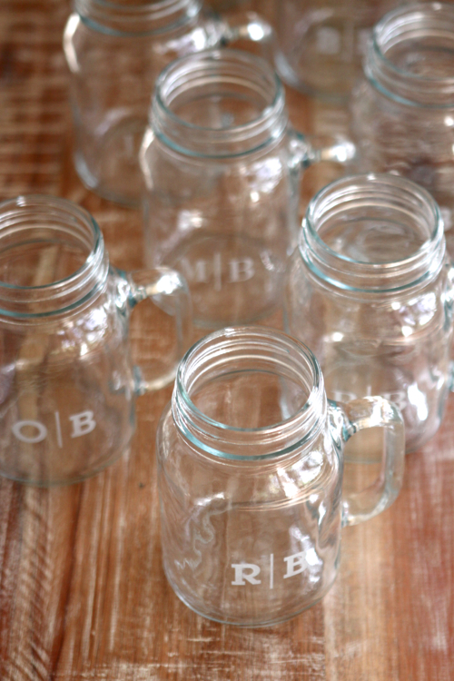 Monogrammed Mason Jars - cute personalized gift!