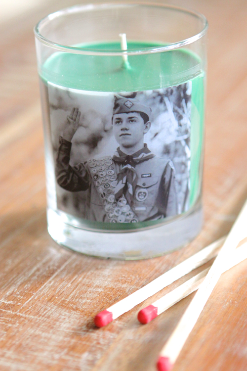 Scented Candle with a Personal Photo added
