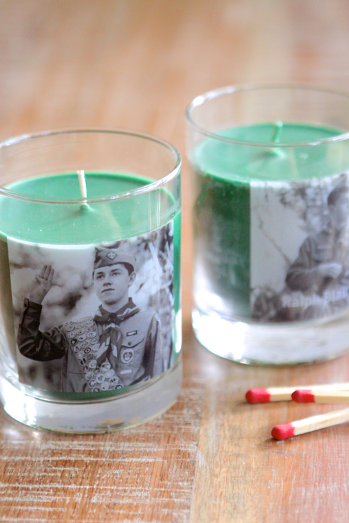 Custom Candles. You pick the scents and the photos. B&W or color.