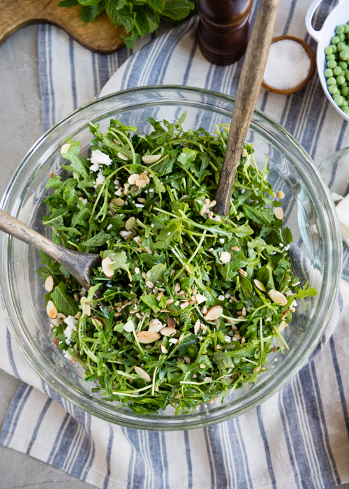 spring salad with arugula and pea shoots-2