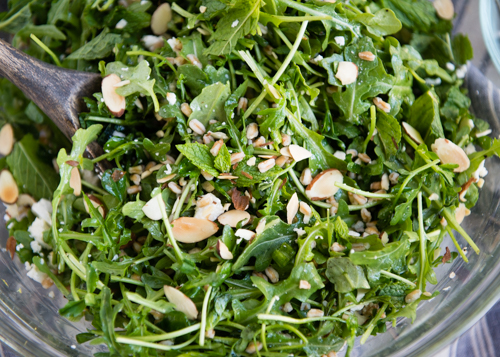 spring salad with arugula and pea shoots-3