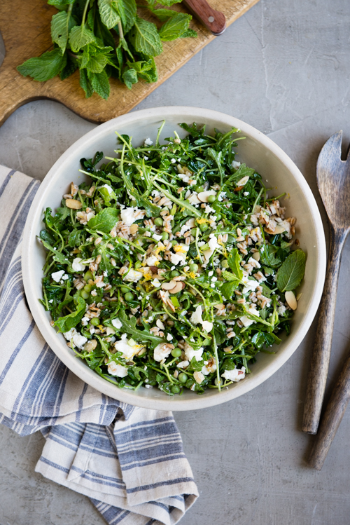 spring salad with arugula and pea shoots-4