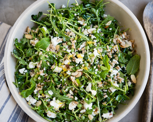 spring salad with arugula and pea shoots-5