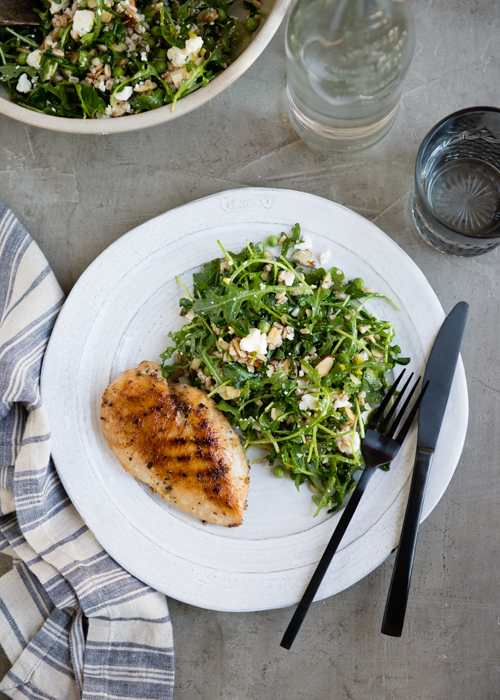 spring salad with arugula and pea shoots-6