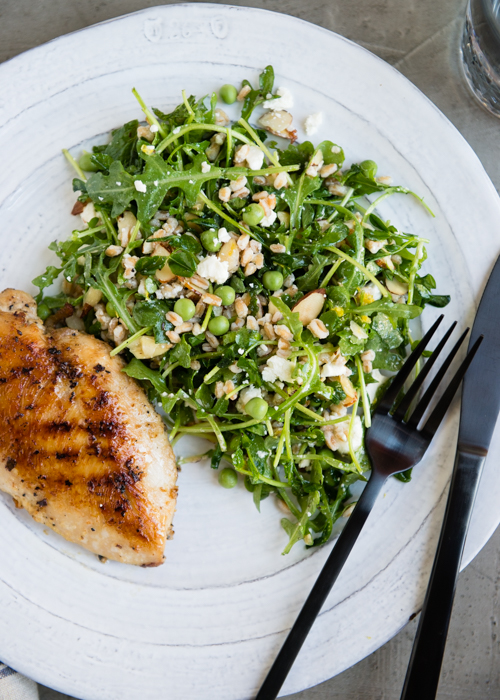 spring salad with arugula and pea shoots-7