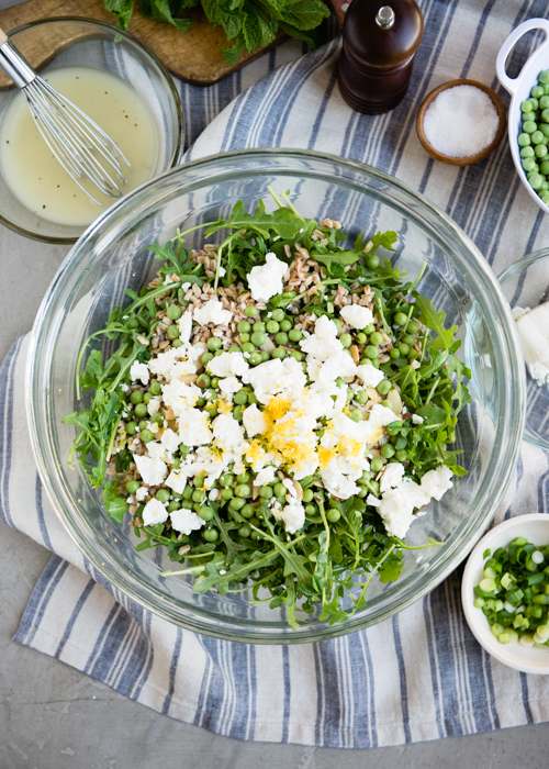 spring salad with arugula and pea shoots
