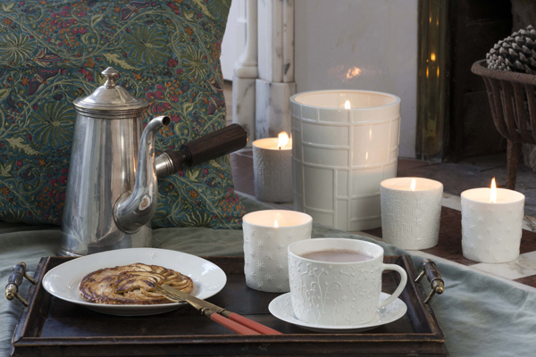 porcelain dishes and scented candles, handmade in France by Alix D. Reynis