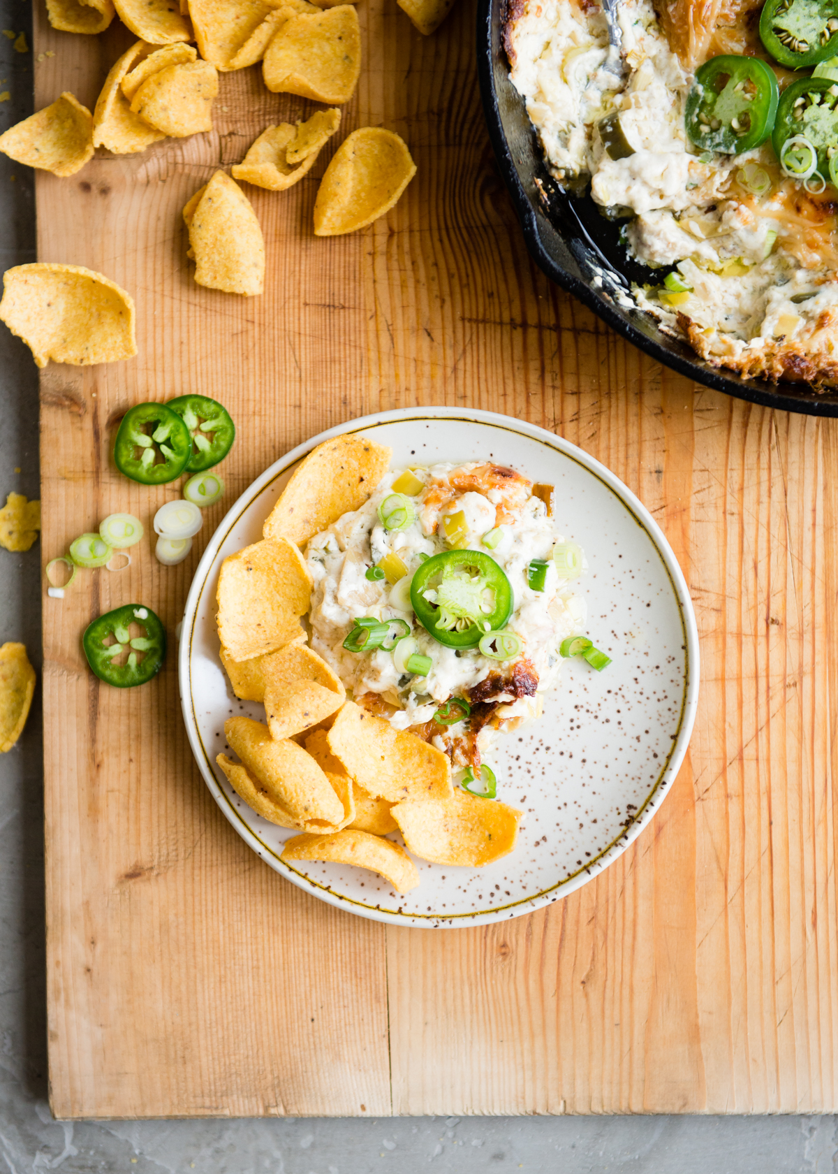 The Ultimate Spicy Jalapeño Artichoke Dip with Corn Chips | DesignMom.com
