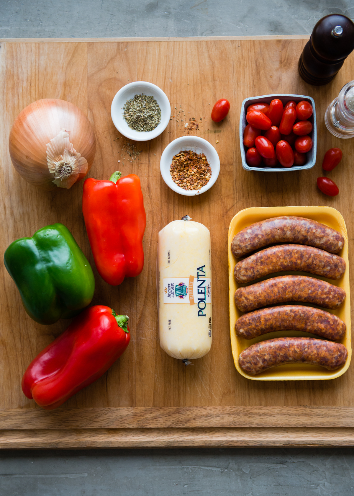 Ingredients for Sheet Pan Sausage and Peppers   DesignMom.com
