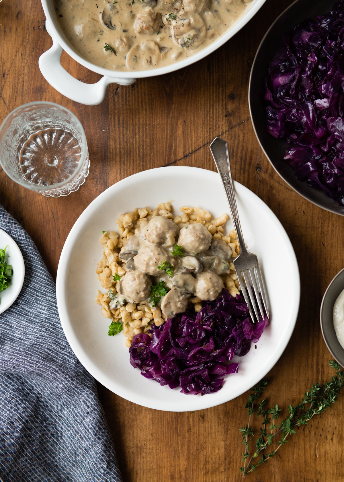 Meatball Stroganoff with Braised Red Cabbage and Spaetzle
