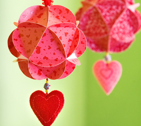 Kids Valentines on Gorgeous Paper Globe Ornaments By Heather Bailey   Great Link  Maya