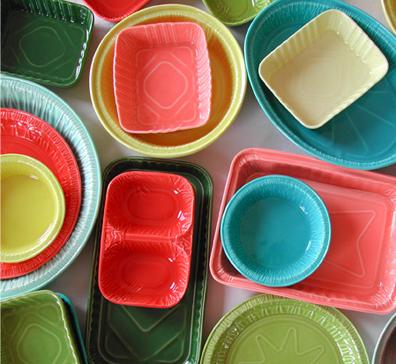 porcelain serving pieces look like tinfoil