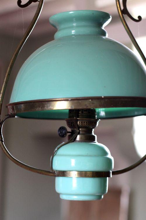 antique green milk glass light fixture