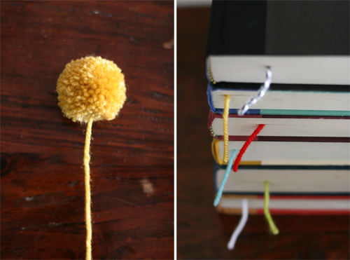 DIY yarn ball pom pom bookmark tutorial featured by top US lifestyle blogger, Design Mom
