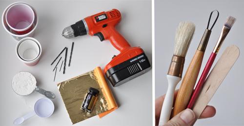 DESIGN MOM: Gold Leaf Plaster Votives. Easy DIY.