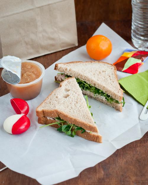 tuna sandwich with pea shoots