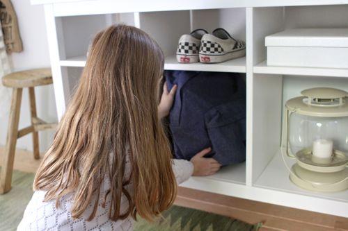 Take advantage of unused space — Sofa Table turned Hallway Organizer.