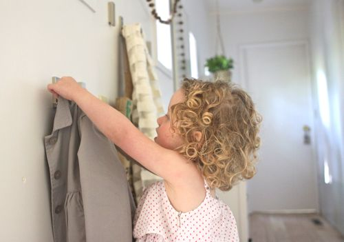 Hang Wall Hooks at Toddler Height