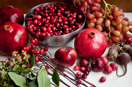 red berries, pomegranates, grapes