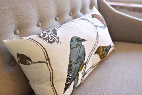Pillow by Dwell Studio. From The Treehouse Living Room Tour. | Design Mom