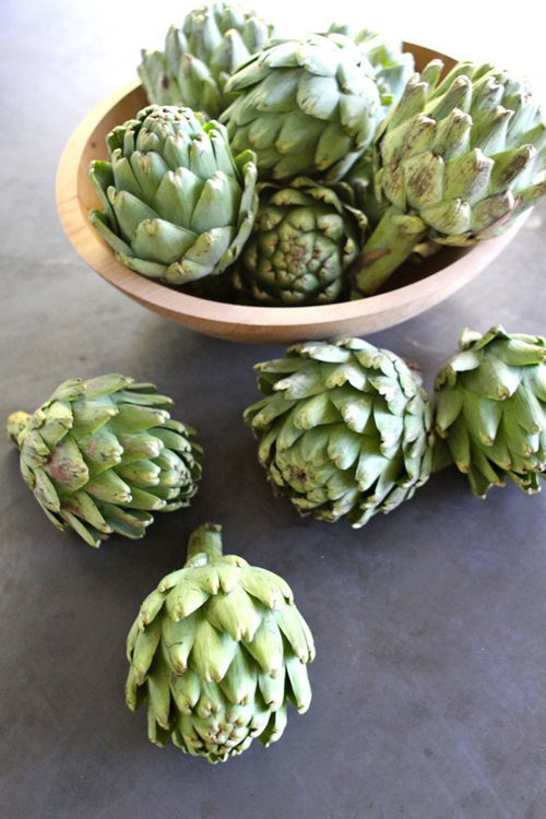 Artichokes in a Wooden Bowl
