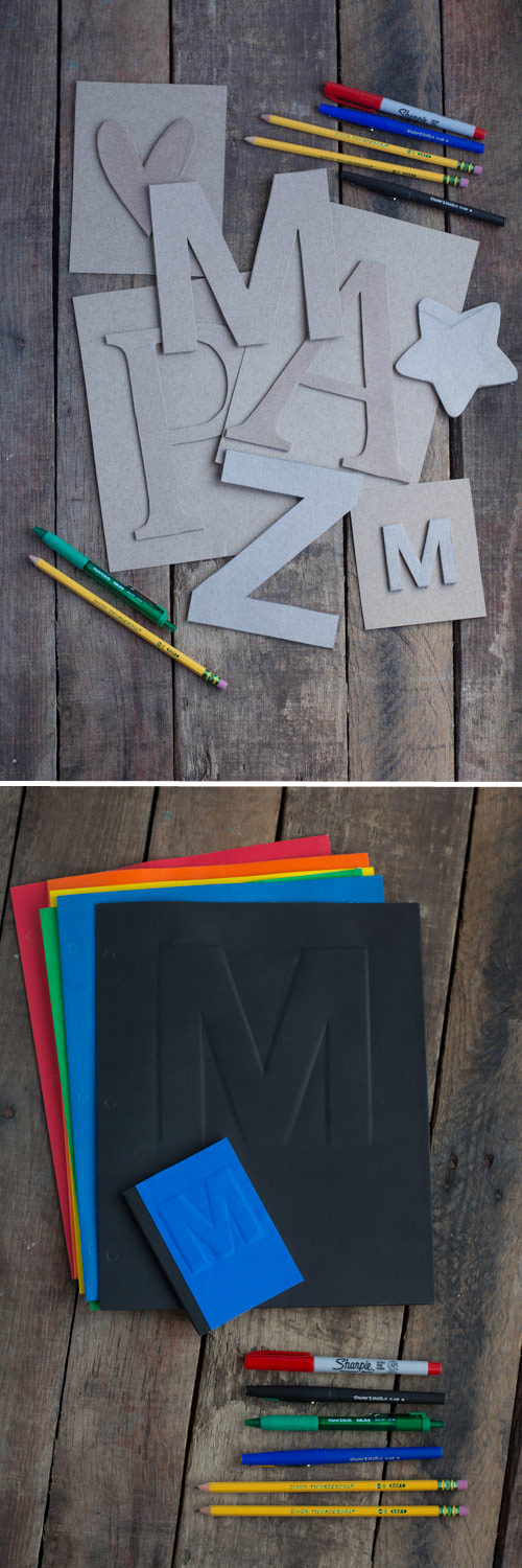 DIY Cereal Box Embossing - Customize all your school supplies! | Design Mom