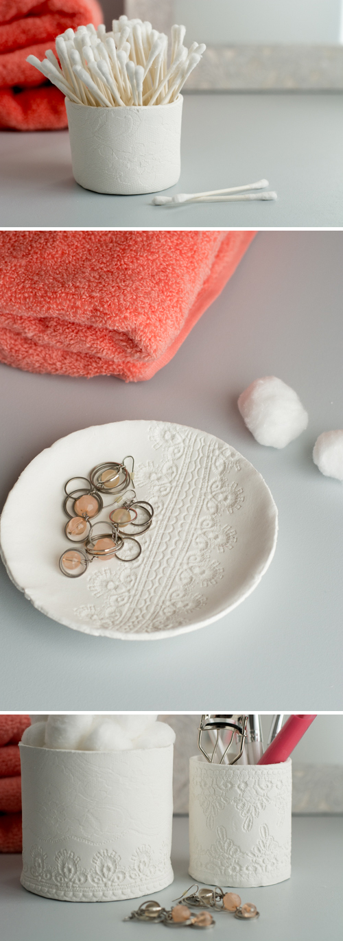 Gorgeous DIY containers with lace imprints. Made with air-dry clay they are easy as can be! | Design Mom | Lacy Clay Containers tutorial featured by popular lifestyle blogger, Gabrielle of Design Mom